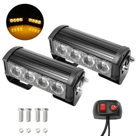 2PCS 7-Flashing Mode 12V 4 LED Strobe Flash Grille Light Warning Hazard Emergency Lamp Car Truck Waterproof - image 4 of 7