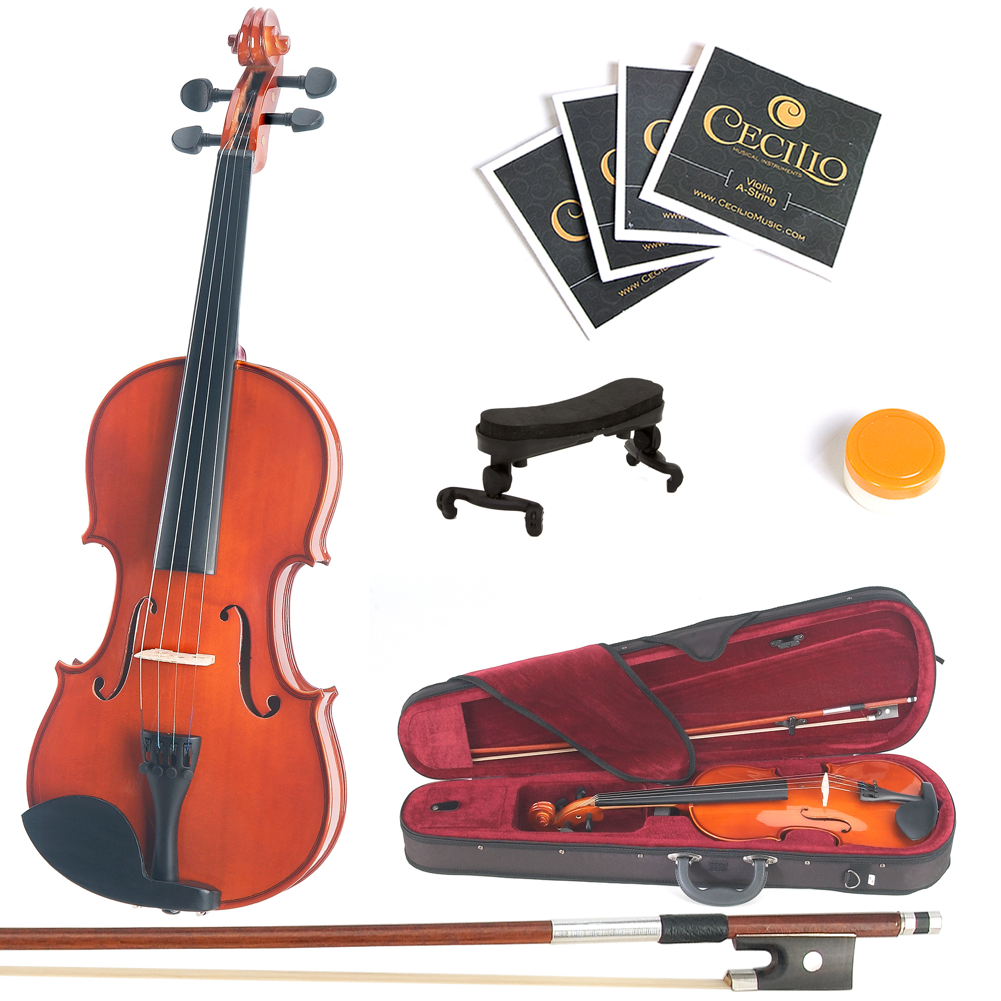 Mendini by Cecilio Size 3/4 MV200 Handcrafted Solid Wood Violin Pack with 1 Year Warranty, Shoulder Rest, Bow, Rosin, Extra Set Strings, 2 Bridges & Case, Natural Varnish
