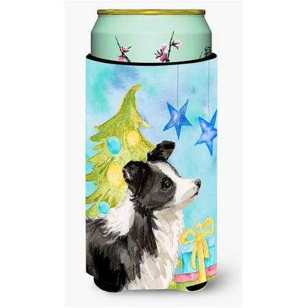 Border Collie Christmas Tall Boys Beverage Insulator Hugger