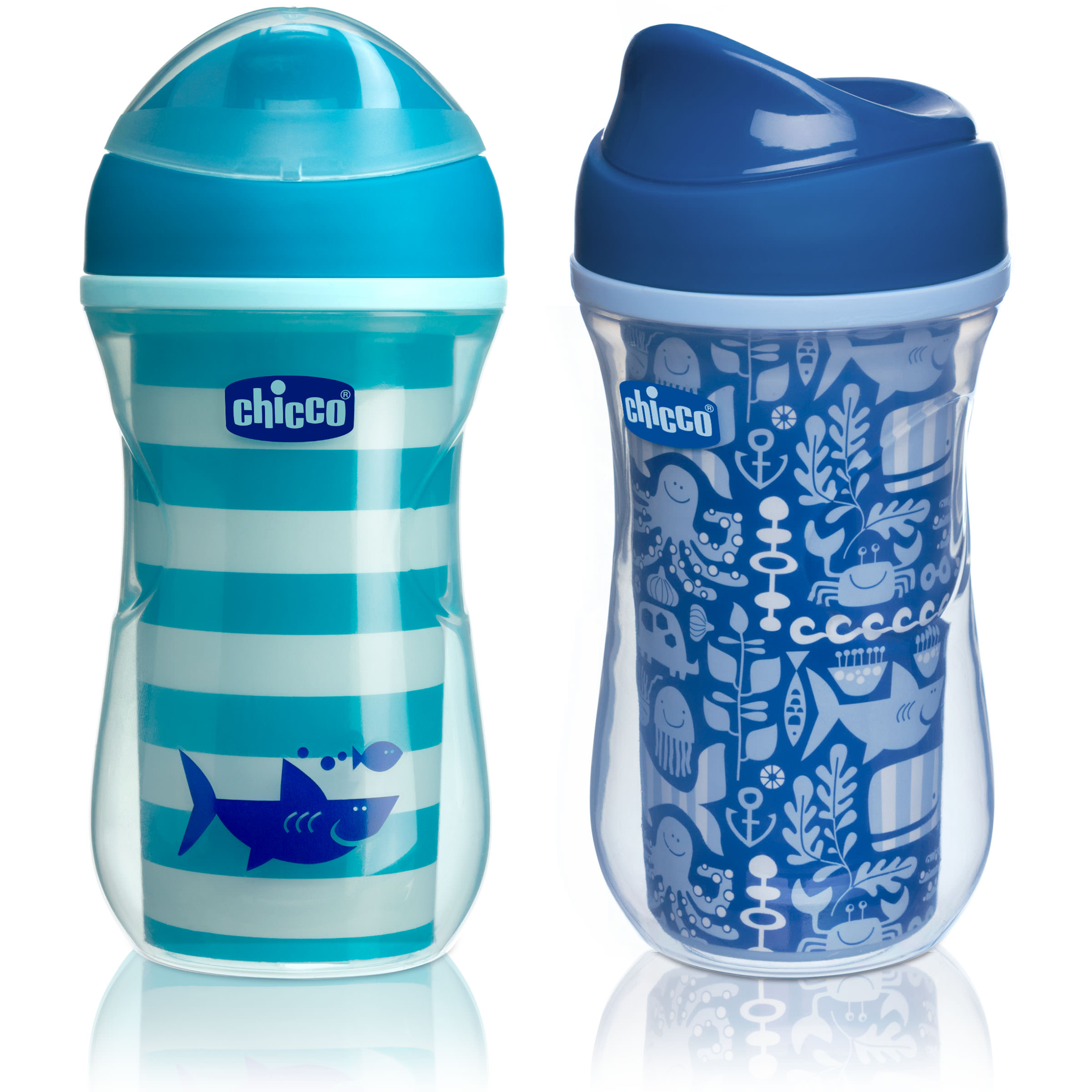 Chicco Insulated No Spill Rim Spout Trainer Sippy Cup 12M+, 9oz Teal Green 2-Pack by Chicco