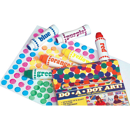 Do A Dot Washable Sponge Tip Applicator Paint Markers, Assorted Brilliant Colors, Set of 6