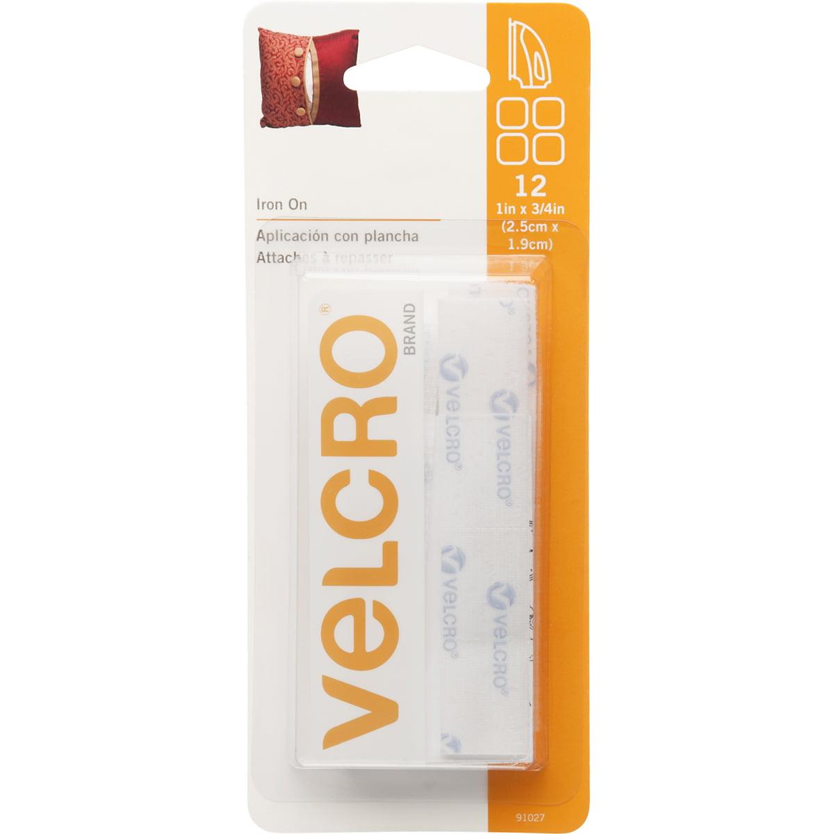 "VELCRO(R) Brand Iron-On Rectangles 3/4""X1"" 12/Pkg-White"