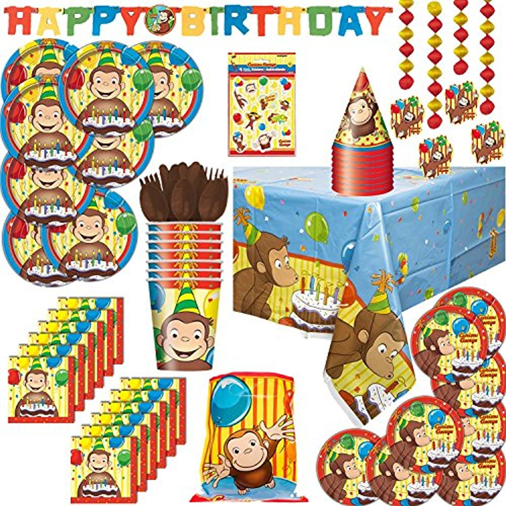 Curious George Party Supply Set For 8: Plates, Napkins, Table cover, Cups, Hats, Cutlery, Decorations, Banner, Loot Bags, Stickers