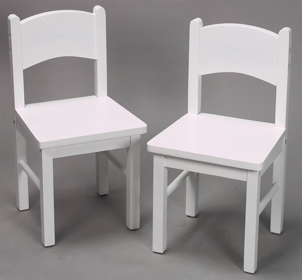Kids Chair Set in White Finished Wood - Set of 2