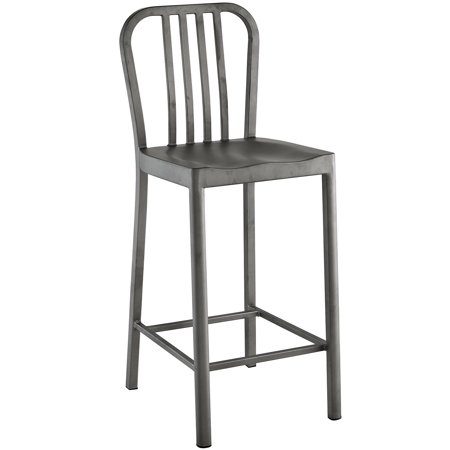 Modern Contemporary Urban Design Kitchen Room Counter Stool Chair, Silver, Metal Steel