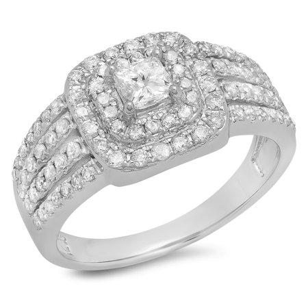 1.00 Carat (ctw) 10K White Gold Princess & Round Cut Diamond Ladies Split Shank Bridal Halo Engagement Ring 1 CT