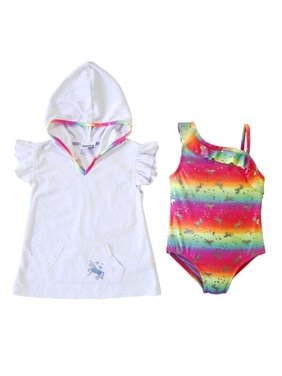 Freestyle Revolution Unicorn One-Piece Swimsuit & Terry Cover-Up, 2pc Set (Baby Girls & Toddler Girls)