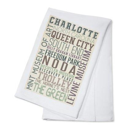 Charlotte, North Carolina - Typography - Lantern Press Artwork (100% Cotton Kitchen Towel)