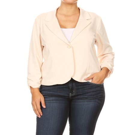 Buttoned Blazer - NEW MOA Women's Solid Plus Size Ruched Sleeve Buttoned Business Casual Blazer Jacket/Made in USA