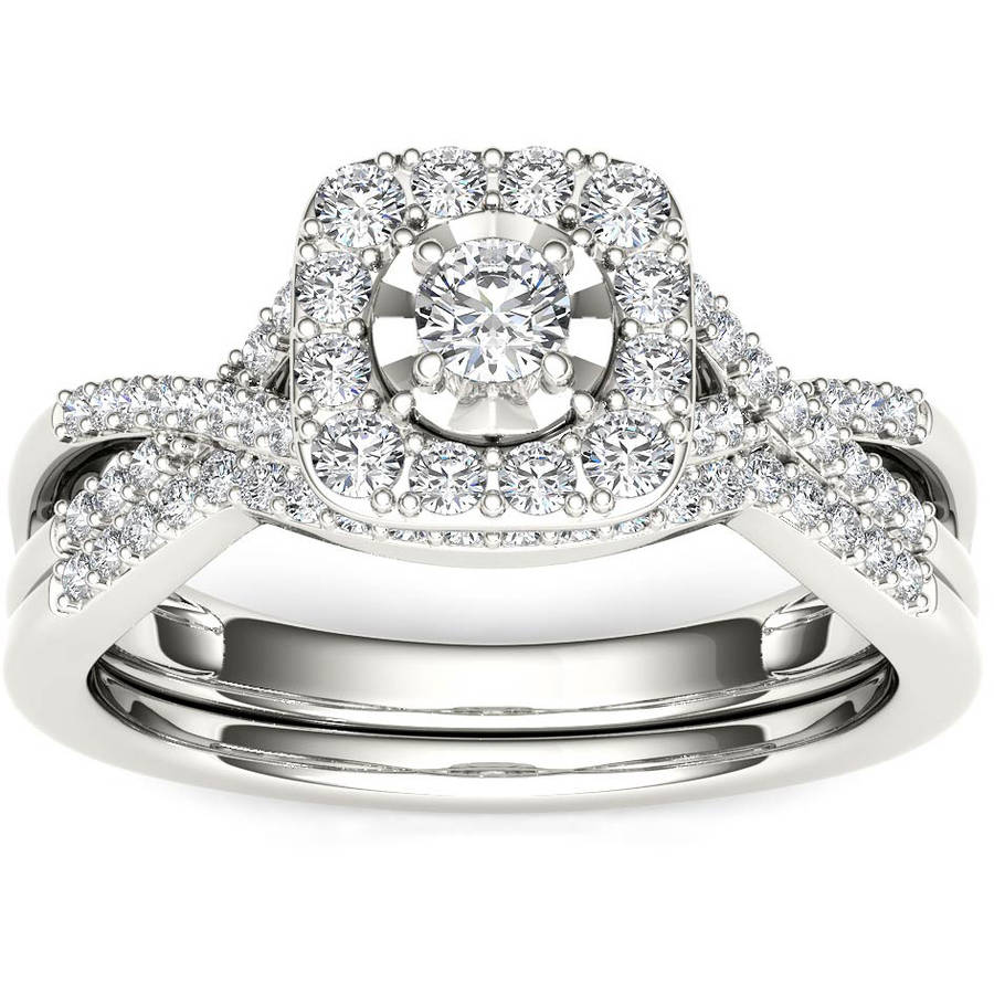 3/8 Carat T.W. Diamond Criss-Cross Shank Single Halo 10kt White Gold Engagement Ring Set