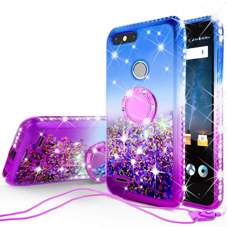 SOGA Rhinestone Liquid Float Quicksand Cover Cute Phone Case Compatible for ZTE Blade Z MAX Case, ZTE Sequoia (Z982) Case with Embedded Metal Ring for Magnetic Car Mounts and Lanyard - Blue on Purple