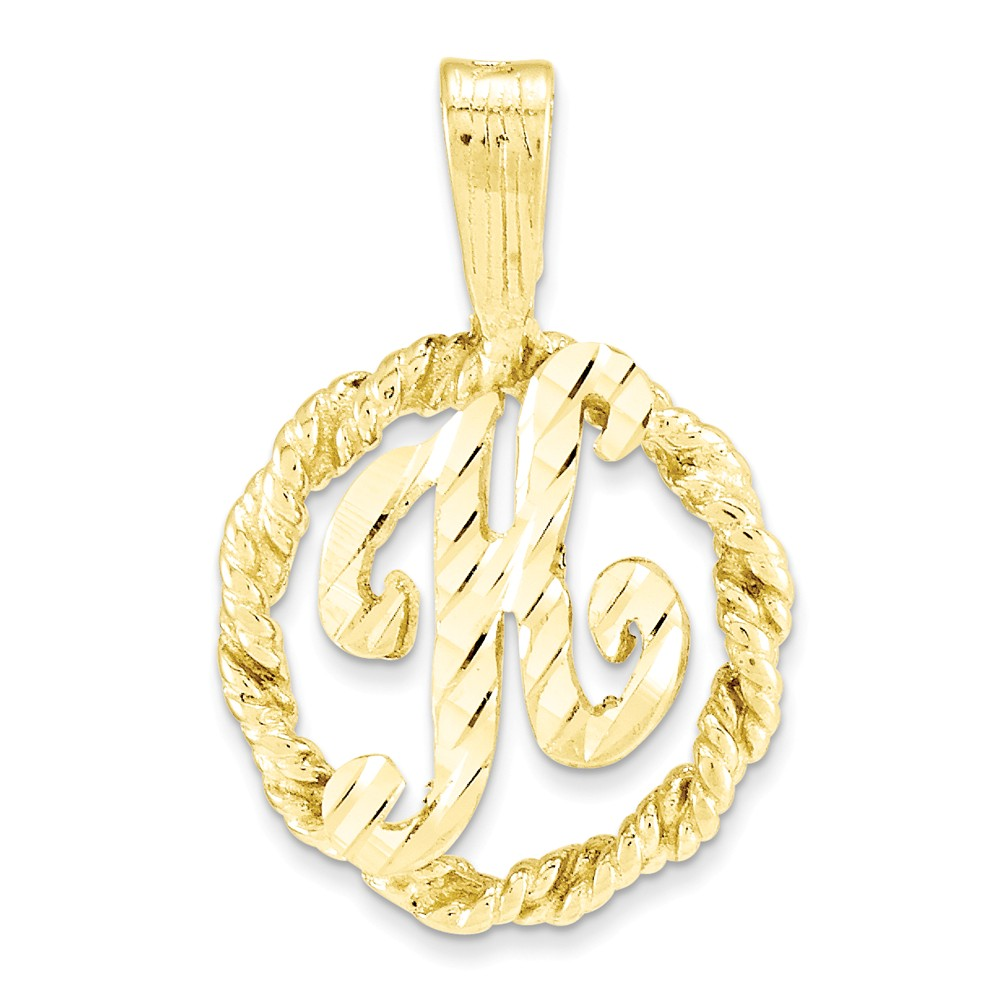 10k Yellow Gold Initial H Pendant