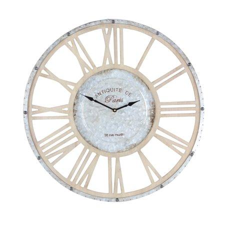 Fir Wood (Decmode 24 Inch Modern Iron and Fir Wood Round Wall Clock, Light brown)