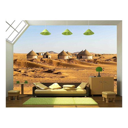 wall26 - Nubian Village on the Way from Dongola to Khartoum in Sahara Desert - Removable Wall Mural | Self-adhesive Large Wallpaper - 66x96 inches
