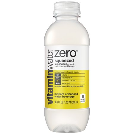 (24 Bottles) vitaminwater zero squeezed, Lemonade, 16.9 fl oz