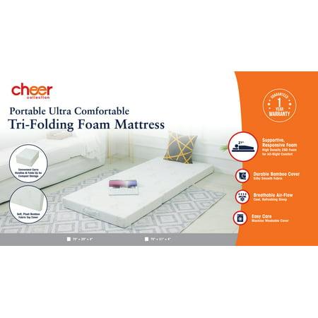Cheer Collection Ultra Soft Tri Fold Folding Futon Mattress And Topper Walmart Com Walmart Com