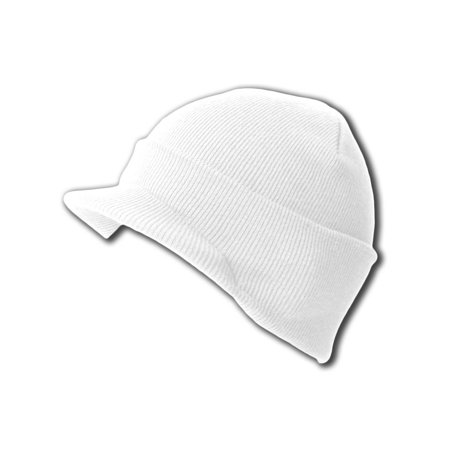 (New White Blank Cuff Winter Beanie Visor (Comes In 18 Different Colors), White)