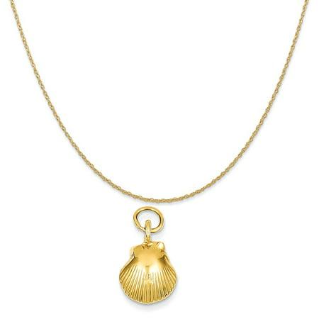 14k Yellow Gold Seashell Pendant on a 14K Yellow Gold Rope Chain Necklace, (14k Yellow Gold Seashell Pendant)