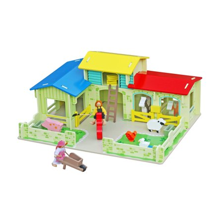 Timy Wooden Farm House Toys Animals Playset Dollhouse with Barn Horse Stable and Accessories (Large Wooden Horse Barn)