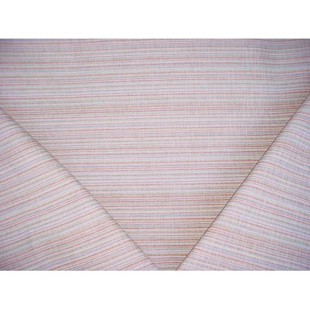 163H13 - Coral / Silver Blue / White / Pewter Stripe Upholstery Drapery Fabric - By the Yard ()