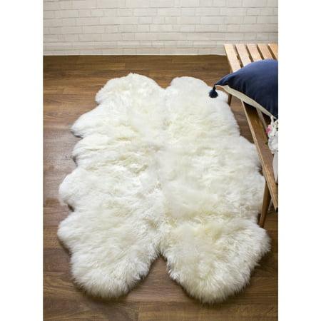 Super Area Rugs, Genuine Australian Sheepskin Ivory White Fur Rug, Four Pelt 4' x 5' 6