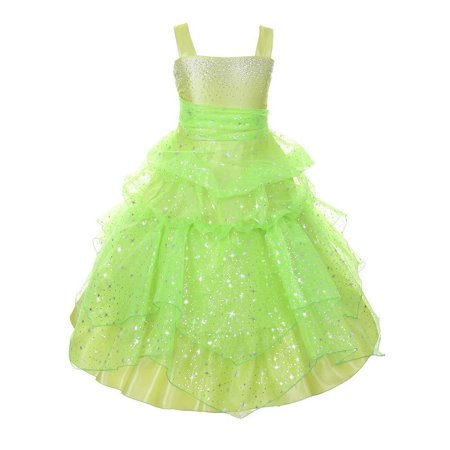 Lime Rhinestone (Girls Lime Rhinestone Star Organza Pick Up Junior Bridesmaid Dress 8-16 )