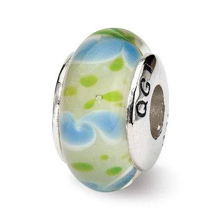 - Mia Diamonds Solid 925 Sterling Silver Reflections Green and Blue Hand-blown Glass Bead