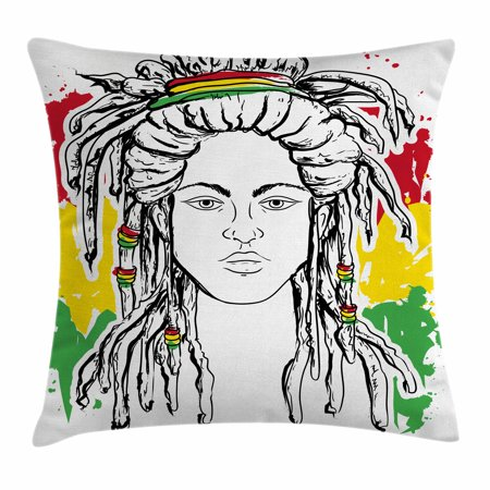 Rasta Throw Pillow Cushion Cover, Grunge Ethiopian Flag Colors with a Black and White Sketchy Girl Image, Decorative Square Accent Pillow Case, 24 X 24 Inches, Red Marigold and Green, -
