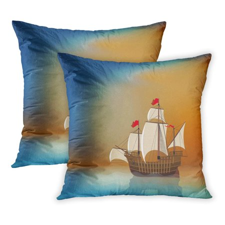 ECCOT Blue Pirate Old Sailing Ship in The Sea at Sunset Blank Place Boat Sail Wooden Wood Schooner PillowCase Pillow Cover 20x20 inch Set of 2