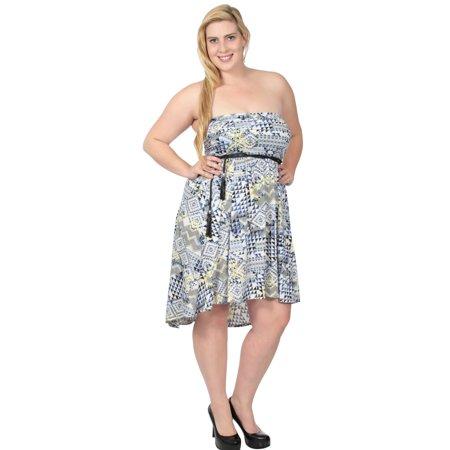 Womens Breezy Summer Dress Empire Waist Irregular Hemline Party