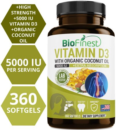 Biofinest Vitamin D3 5000 IU Supplement - With Organic Cold Pressed Organic Coconut Oil, High Potency, Non GMO, Natural, Fast Dissolve - For Bone Strength, Immune System Health (360 Liquid Softgels)
