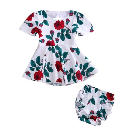 Summer Infant Baby Girls Floral Backless Dress Sundress+Briefs 2Pcs sets Fashion - Infant Dress Suit