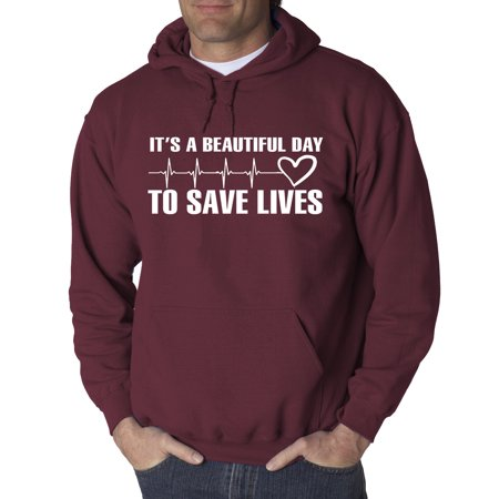 - New Way 832 - Adult Hoodie It's A Beautiful Day To Save Lives Sweatshirt Medium Maroon
