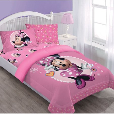 Twin Minnie Mouse Disney BED IN A BAG Comforter Set W/Fitted Sheet And Pillowcase (Mini Mouse Bed Set)