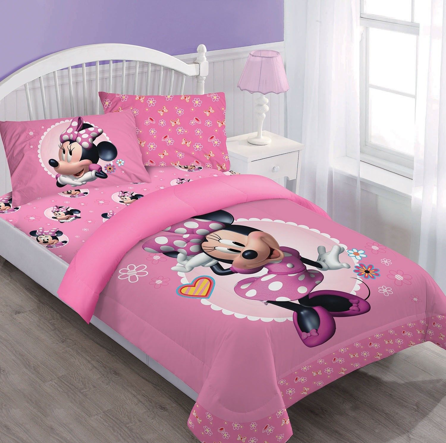 Twin Minnie Mouse Disney BED IN A BAG Comforter Set W/Fitted Sheet And Pillowcase