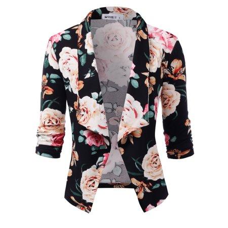c4f59c5b852 Doublju - Doublju Women s Casual Work Office Open Front Blazer Cardigan  Floral Jacket BLACKIVORY 1X Plus Size - Walmart.com
