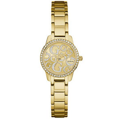 Guess W0891L2 Greta crystal stainless steel bracelet with dial logo Golden Ladies Watch (Guess The Logo)
