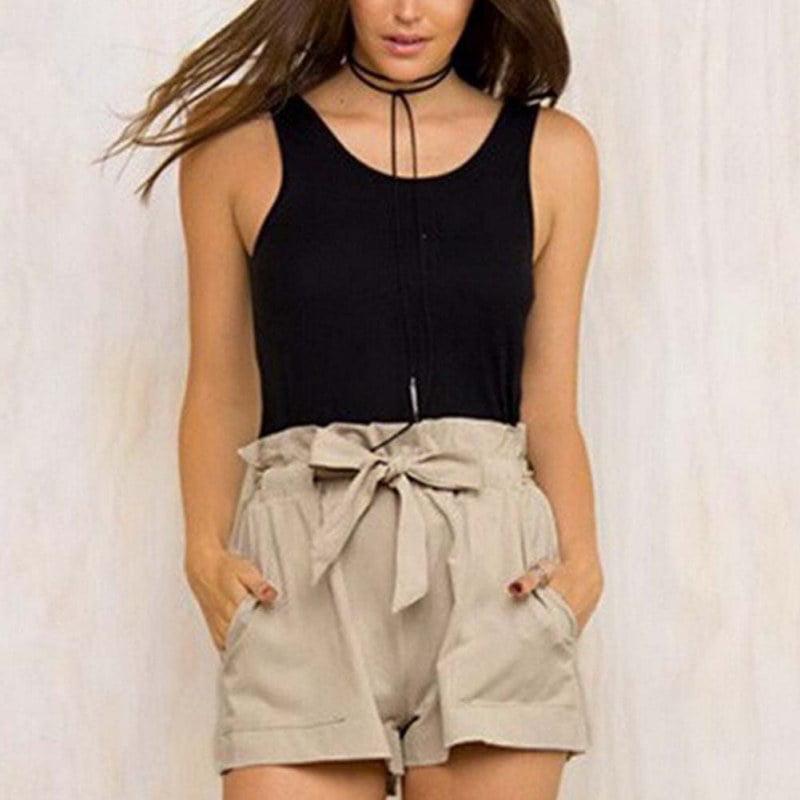 Women Hot Pants Summer Casual Loose Shorts Bow Beach High Waist Short Trousers Khaki Size L