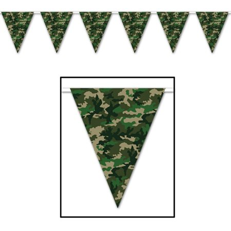 Club Pack of 12 Military Themed Camo Flag Outdoor Pennant Banner Hanging Party Decorations 12'