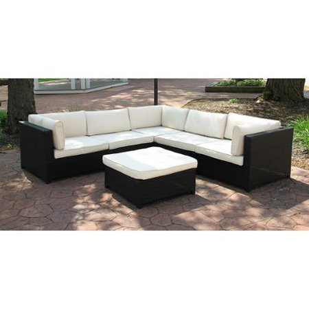 Black Resin Wicker Outdoor Furniture Sectional Sofa Set White Cushions