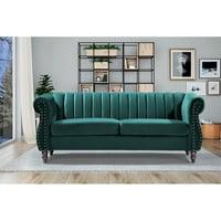 """Capri Velvet Chesterfield 60.4"""" Rolled Arms Sofa"""