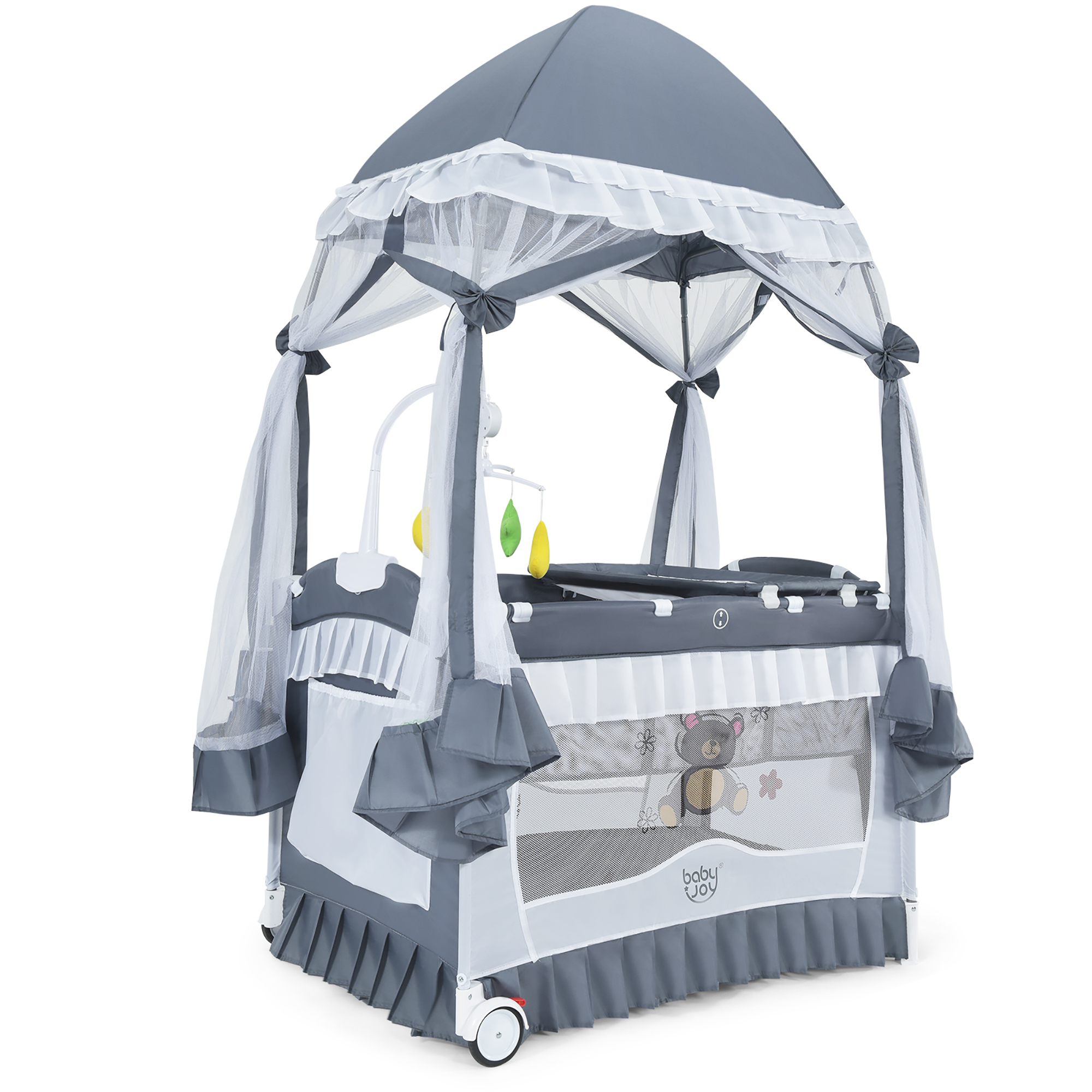 New Upgraded Foldable Baby Bed Cartoon Doodle Infant Sleeper with Awning and Mosquito Net Surpcos 4 in 1 Portable Bassinet