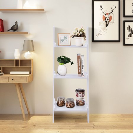 Costway 3 Tier Leaning Wall Ladder Book Shelf Bookcase Storage Rack Display Flower shelf  Plant shelf Furniture 3 Tier Cylinder Display