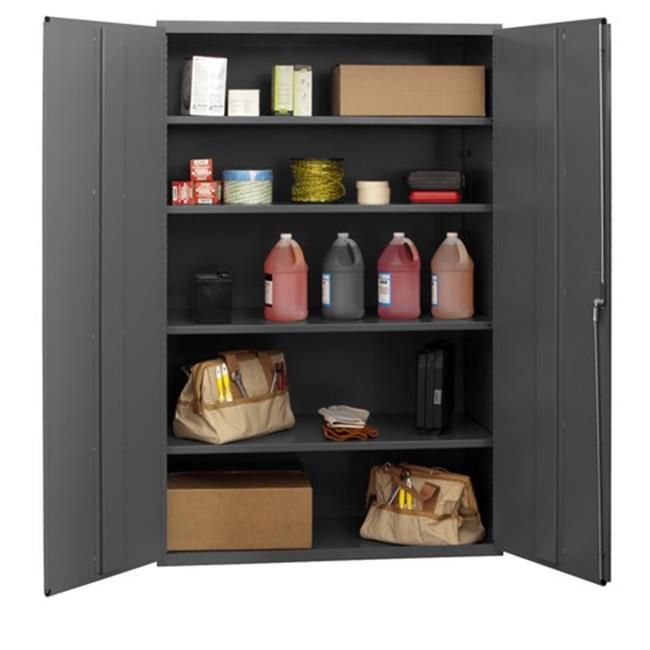 14 Gauge Flush Door Style Lockable Shelf Cabinet with 4 Adjustable Shelves, Gray - 48 in.