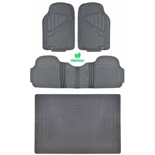 Motor Trend 100 Percent Odorless Car Floor Mats with Standard Trunk Cargo Mat, 4 Pieces Rubber Protection, Black Beige - 100 Floors Seasons Halloween Floor 15