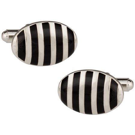 Black & White Silver Oval Cufflinks by Cuff-Daddy