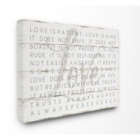 Stupell Love Is Patient Grey on White Canvas Art, 16 x 20