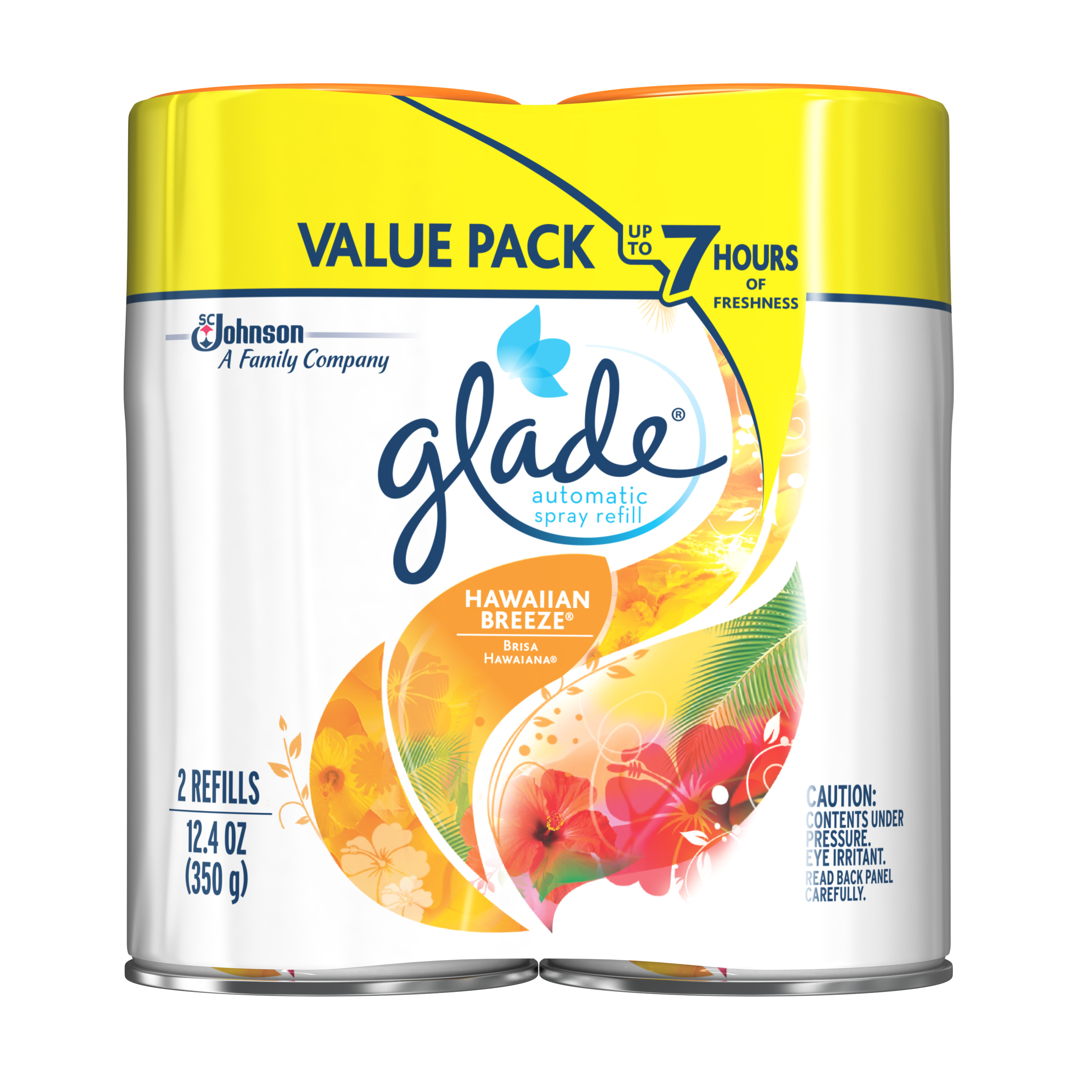 Glade Automatic Spray Air Freshener Refill, Hawaiian Breeze, 6.2 Ounces, 2 count