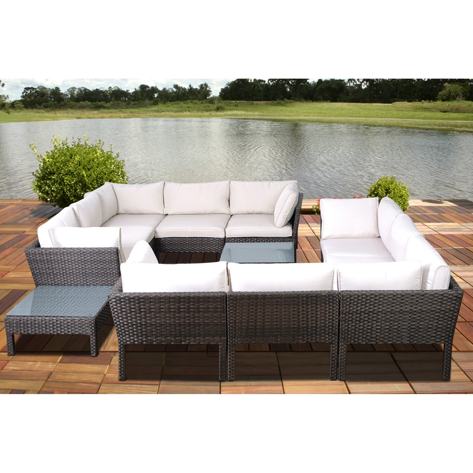 Metz 5-Piece Grey Wicker Seating Set with Off-White Cushions
