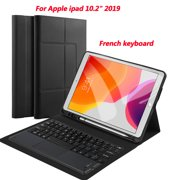iPad 10.2 Wireless Touch Bluetooth Keyboard (French)+ Black Leather Protective Case